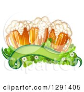 Clipart Of A St Patricks Day Blank Banner With Shamrocks And Beer Mugs Royalty Free Vector Illustration