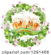 St Patricks Day Wood Wreath Of Shamrocks Good Luck Text And Beer Mugs