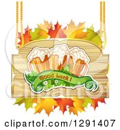 St Patricks Day Wood Sign With Shamrocks Autumn Leaves Good Luck Text And Beer Mugs