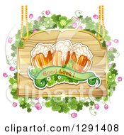 St Patricks Day Wood Sign With Shamrocks Good Luck Text And Beer Mugs