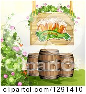 St Patricks Day Wood Sign With Shamrocks Good Luck Text And Beer Mugs Over Barrels