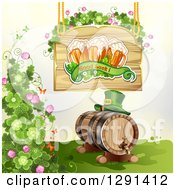 St Patricks Day Wood Sign With Shamrocks Good Luck Text And Beer Mugs Over A Leprechaun Hat On A Keg