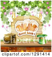 St Patricks Day Wood Good Luck Sign With Shamrocks Beer Mugs A Leprechaun Hat And Pot Of Gold