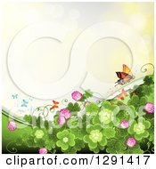 St Patricks Day Background Of Shamrock Clovers And Flowers With A Monarch And Butterflies On Yellow