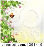 St Patricks Day Background Of Shamrock Clovers And Flowers With Butterflies And A Monarch On Yellow