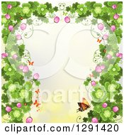 Clipart Of A St Patricks Day Background Of Borderd Shamrock Clovers And Flowers With A Monarch Butterflies On Yellow Royalty Free Vector Illustration