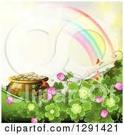 Clipart Of A St Patricks Day Background Of Shamrock Clovers And Flowers A Pot Of Gold Rainbow And Butterflies On Yellow Royalty Free Vector Illustration by merlinul