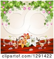 Clipart Of A Background Of Shamrock Clovers And Flowers Over Lilies Red Lattice And Targets On Pink Royalty Free Vector Illustration