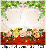 Clipart Of A Background Of Shamrock Clovers And Flowers Over Roses Red Lattice And Targets On Pink Royalty Free Vector Illustration