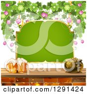 Clipart Of A Blank Green St Patricks Day Sign With A Pot Of Gold Shamrocks And Beer Mugs Royalty Free Vector Illustration by merlinul