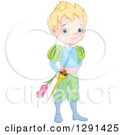 Clipart Of A Cute Blue Eyed Blond Caucasian Prince In A Colorful Uniform Holding A Flower Royalty Free Vector Illustration by Pushkin
