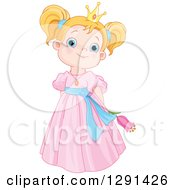 Clipart Of A Cute Blue Eyed Strawberry Blond Caucasian Princess In A Pink Dress Holding A Flower Royalty Free Vector Illustration