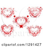 Clipart Of Red Floral Valentine Hearts Royalty Free Vector Illustration