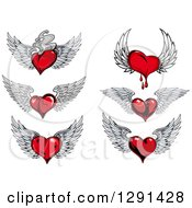Clipart Of Red Winged Hearts With Fire And Blood Royalty Free Vector Illustration