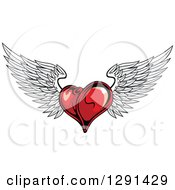 Dark Red Winged Heart