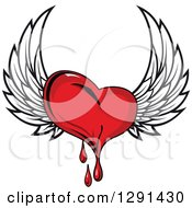 Clipart Of A Bleeding Red Winged Heart Royalty Free Vector Illustration