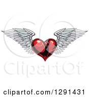 Clipart Of A Dark Red Winged Heart 2 Royalty Free Vector Illustration