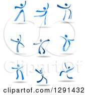 Clipart Of Blue Ribbon People Dancing With Shadows Royalty Free Vector Illustration