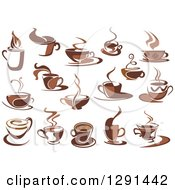 Clipart Of Two Toned Brown And White Steamy Coffee Cups Royalty Free Vector Illustration