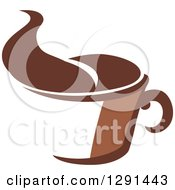 Clipart Of A Two Toned Brown And White Steamy Coffee Cup 5 Royalty Free Vector Illustration