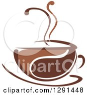 Clipart Of A Two Toned Brown And White Steamy Coffee Cup On A Saucer 28 Royalty Free Vector Illustration