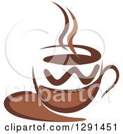 Clipart Of A Two Toned Brown And White Steamy Coffee Cup On A Saucer 31 Royalty Free Vector Illustration