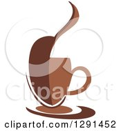 Clipart Of A Two Toned Brown And White Abstract Bean Steamy Coffee Cup On A Saucer Royalty Free Vector Illustration