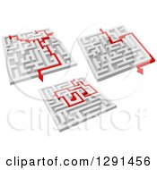 Clipart Of 3d Mazes With Red Arrow Paths 2 Royalty Free Vector Illustration by Vector Tradition SM
