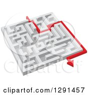 Clipart Of A 3d White Maze With A Red Arrow Guide Royalty Free Vector Illustration by Vector Tradition SM