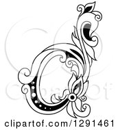 Clipart Of A Black And White Vintage Lowercase Floral Letter D Royalty Free Vector Illustration
