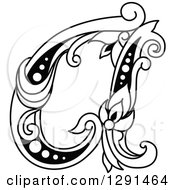 Clipart Of A Black And White Vintage Lowercase Floral Letter A Royalty Free Vector Illustration