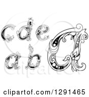 Clipart Of Black And White Vintage Lowercase Floral Letters A B C D And E Royalty Free Vector Illustration