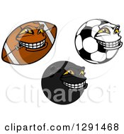 Tough American Football Bowling Ball And Soccer Ball Characters