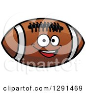 Happy Brown American Football Character With White Stripes