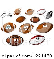 Brown American Football With White Stripes