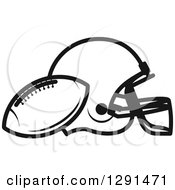 Black And White American Football And Helmet