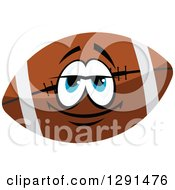 Happy Brown American Football Character With Blue Eyes And White Stripes