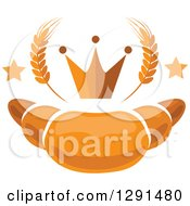 Clipart Of A Croissant With Stars Wheat And A Crown Royalty Free Vector Illustration