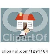 Clipart Of A Flat Modern Design Styled White Businessman Or Broker Moving A House Over Blue Royalty Free Vector Illustration