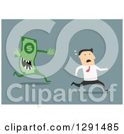 Clipart Of A Flat Modern Design Styled White Businessman Running From A Money Debt Monster Over Blue Royalty Free Vector Illustration