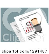 Clipart Of A Flat Modern Design Styled White Businessman On A Giant Paper Bar Graph With A Magnifying Glass Over Blue Royalty Free Vector Illustration