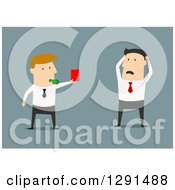 Clipart Of A Flat Modern Design Styled White Businessman Getting A Red Card From His Boss Over Blue Royalty Free Vector Illustration