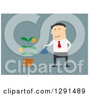 Clipart Of A Flat Modern Design Styled White Businessman Watering An Investment Plant Over Blue Royalty Free Vector Illustration