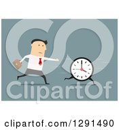 Clipart Of A Flat Modern Design Styled White Businessman Running After A Clock Over Blue Royalty Free Vector Illustration