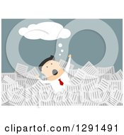 Clipart Of A Flat Modern Design Styled Thinking White Businessman Drowning In Paperwork Over Blue Royalty Free Vector Illustration