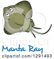Clipart Of A Cartoon Green Manta Ray Over Text Royalty Free Vector Illustration by Vector Tradition SM
