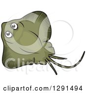 Clipart Of A Cartoon Green Manta Ray Royalty Free Vector Illustration