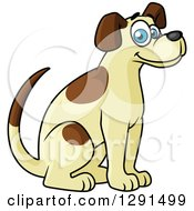Clipart Of A Cartoon Happy Sitting Tan And Brown Spotted Dog Royalty Free Vector Illustration