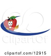Clipart Illustration Of A Red Apple Character Mascot Logo Name Tag With A Blue Dash