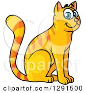 Clipart Of A Cartoon Happy Sitting Tabby Ginger Cat With Blue Eyes Royalty Free Vector Illustration by Vector Tradition SM
